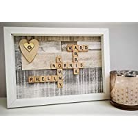 Personalised Scrabble Frame Wall Art -A4 size box frame - Choice of colours