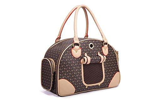 Sacchetto trasparente e traspirante Small Dog Cat Carrier borsa portatile Pet borsa delle donne di modo per la corsa esterna Camminare Escursionismo , brown , s