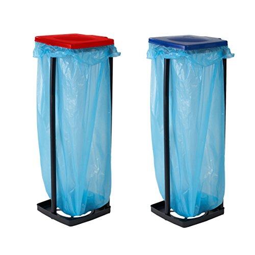 Top Star Müllsackständer in Blau, Müllbehälter mit Deckel, Müllsackhalter bis 120 Liter, Abfallbehälter für die Küche, Garage oder Keller, Müllbeutelhalter 3-fach höhenverstellbar, Gelber-Sack Ständer - 3