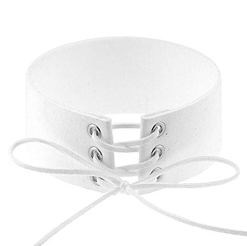 Hosaire 1X Fashion Women Men Cool PU Love Heart-Shape Ring Leather Collar Choker Necklace(White)