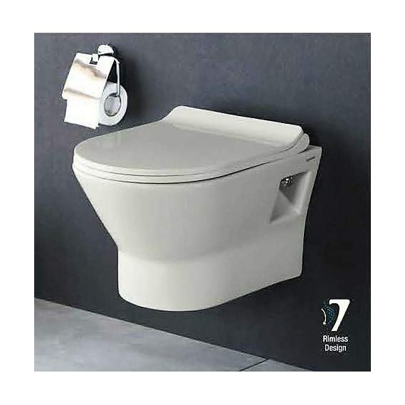 Ceramic Wall Hung Water Closet Rimless/Rimfree Water Closet Toilet with Slim Seat Cover (Standart White) by Urban Concept)