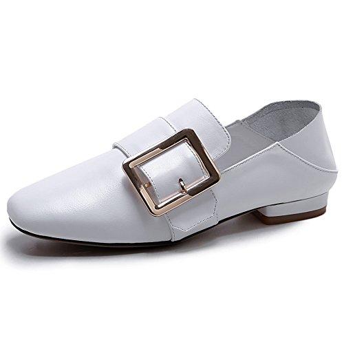 Damen Pumps Round Toe Kuhleder Flach Schuhe Lederschuh Rutsch Weiß