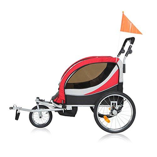 SAMAX PREMIUM Fahrradanhänger Jogger 2in1 360° drehbar Kinderanhänger Kinderfahrradanhänger Transportwagen vollgefederte Hinterachse für 2 Kinder in Rot/Grau - Silver Frame - 5