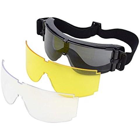 GOOFIT ojo gafas de protección Tactical antiniebla Juego completo negro con la lente de repuesto para Scooter y bicicleta