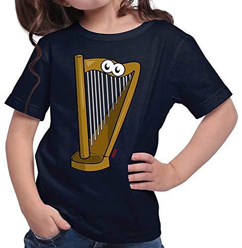 HARIZ Mädchen T-Shirt Harfe Lachend Instrument Kind Lustig Plus Geschenkkarte Deep Navy Blau 104/3-4 Jahre
