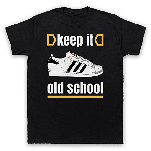 Keep It Old School Retro Superstar Slogan Herren T-Shirt Schwarz