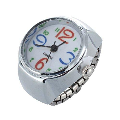 TOOGOO(R) Ring Uhr Ringuhr Fingeruhr Damenuhr rund silberfarbe Quarzwerk Legierung HOT