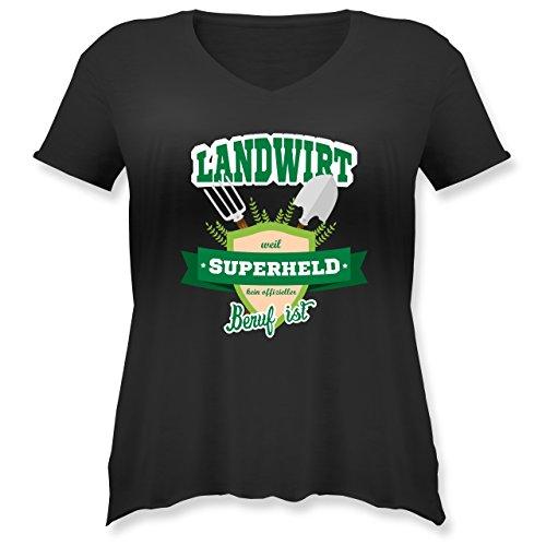 - Landwirt - Weil Superheld Kein Offizieller Beruf ist - S (44) - Schwarz - JHK603 - Weit Geschnittenes Damen Shirt in Großen Größen mit V-Ausschnitt (Plus-size-superhelden-t-shirts)