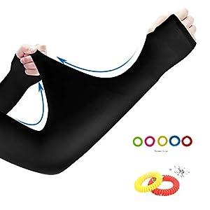 SunBeter Outdoor Armwärmer UV Schutz Arm Kühlung SleevesArm Abdeckung mit Mückenschutz-Armband für Männer und Frauen