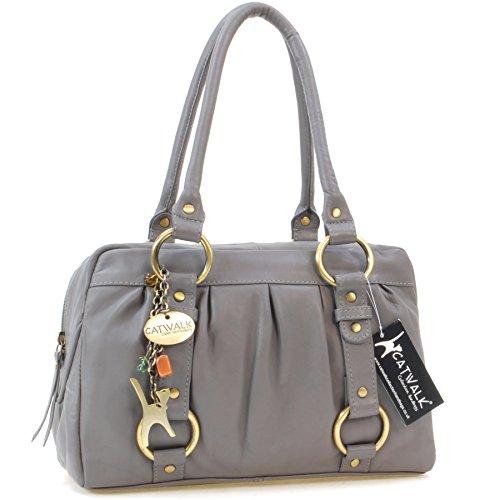 """Lederhandtasche """"Megan"""" von Catwalk Collection - GRÖßE: B: 29,5 H: 19,5 T: 12 cm Grau"""