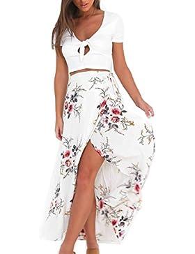 Moda Falda Larga Irregular Estampada Flor Maxi Boho Verano Vestido Pareo Playa Ropa de Playa Fiesta Casual Bikini...