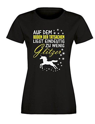 Auf dem Boden der Tatsachen liegt eindeutig zu wenig Glitzer - Damen Rundhals T-Shirt Schwarz/Weiss-neongelb