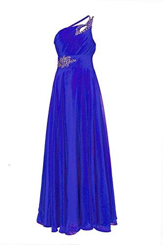 ROBLORA Damen One-Shoulder Kleid, Einfarbig blau blau Königsblau