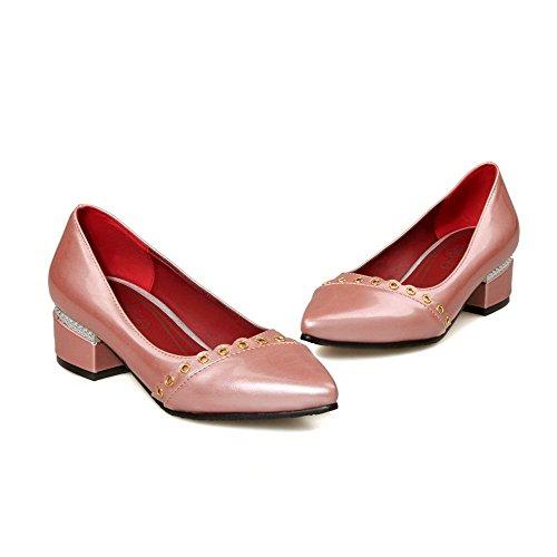 Material Pink Agoolar Weiches Pumps Damen Eingelegt Ziehen Auf Absatz Niedriger Schuhe qHE6HvPw