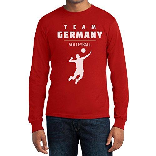 Team Germany Männer Volleyball Fanartikel Rio Langarm T-Shirt Rot