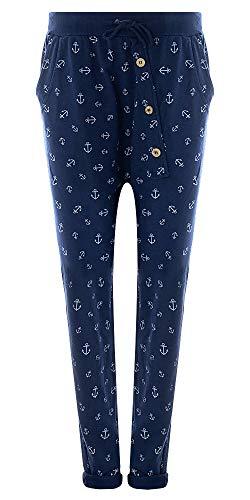 Fashion YOU WANT Damen Jogginghose Gr. 36-50 Sweatpants Sterne Boyfriend Ali Baba Style Anker Camouflage Uni Blumen Muster (48/50, Anker blau)