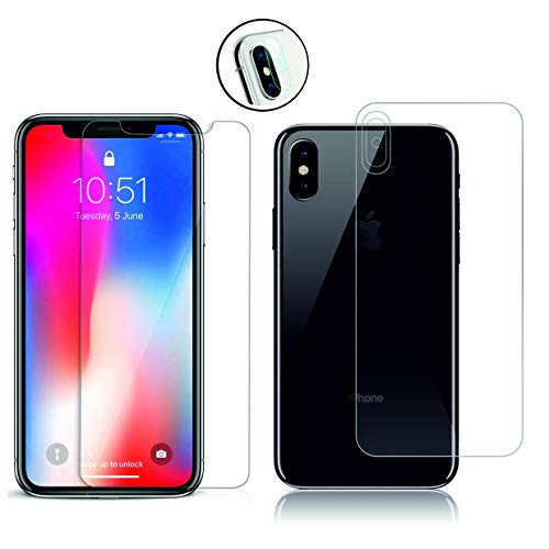 Arrivly |3in1| Display Vorder Rückseite Kamera Transparent Hartglas Für Apple iPhone X Komplett Schutz Front Back & Camera Panzerglas Klar iPhone X 3D Vorne Hinten Kamera Schutzglas (iPhone X)