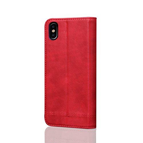 iPhone 8 Handycover, LifeePro für iPhone 8 Crazy Horse Pattern PU Leder Brieftasche Handycover mit Flip Stand Funktion Fotorahmen und Kartensteckplätze TPU Silikon Weiche Abdeckung Magnetverschluss Ro Rot