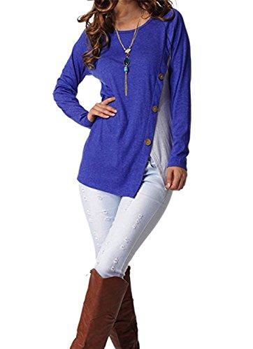 Leapparel Donna Maglietta Manica Lunga Girocollo Allentato Camicetta T-shirt Top Casual Partito per le Donne Blue