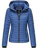 Marikoo Damen Übergangs Steppjacke Herbst Winter Jacke mit Kapuze 19 Farben mit Camouflage XS - XXL Samtpfote (S, Blue)