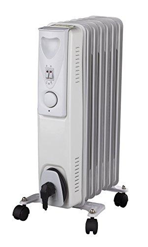 Daewoo Blanc Radiateur à bain d'huile Électrique Portable. 7 éléments, 1500W. 3 niveaux de puissance et thermostat réglable. Couleur blanc. Design exclusif.