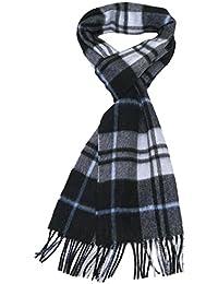 Kaschmir Herren-Schal Schwarz - Lovarzi Karierte Kaschmir Schal für Männer - Made in Großbritannien