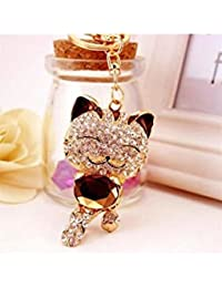 Banggood ELECTROPRIME Crystal Keyring Charm Pendant Bag Key Ring Chain Keychain Fortune Cat Coffee