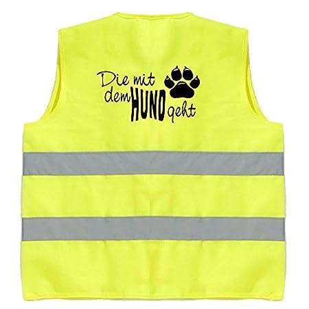 Hundesport Warnweste | Die mit dem Hund geht | Sicherheitsweste | Gelb | Brust- und Rückendruck