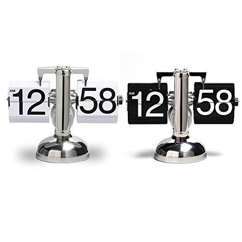 Kbsin212 Retro Flip Clock Down Mechanical Retro Automatik Flip Page Schreibtisch Regal Clock Ornaments Balance Single Foot Clock Classic Mechanical Digital Display Home Decoration Ornaments Schwarz (Classic Desk Clock)