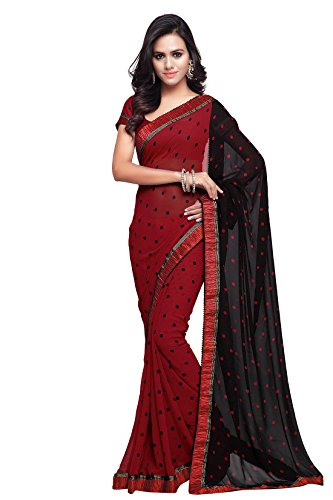SOURBH Women's Georgette Saree With Blouse Piece (238_Red)