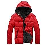 SHOBDW Hombres delgado informal chaqueta caliente encapuchado invierno gruesa abrigo parka abrigo con capucha (Rojo, M)