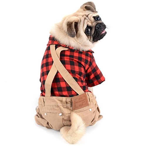 Small Pet Puppy Hund Katze Overall Plaid Shirts Pullover mit Khaki Overalls Pants Outfits Hund Chihuahua Kleidung ()
