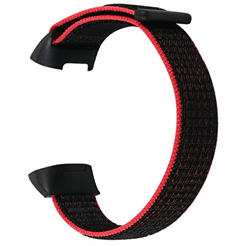 Für Fitbit Charge 3 Armband,MuSheng Großer Ersatz Soft Nylon Sport Loop Wrist Band Strap Armbänder Bracelet für Fitbit Charge 3 Armband (Rot)