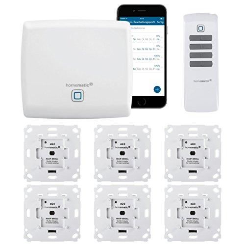 Homematic IP FUNK Rolladensteuerung Set mit Fernbedienung und gratis Smartphone App zur Automatisierung der Rolladen. Beinhaltet: Zentrale, 6 Rollladenaktoren, 1 Fernbedienung. Ideal zum Nachrüsten.