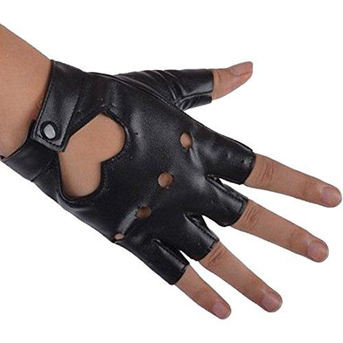 Damen Fingerlose Handschuhe - TOOGOO(R)Damen PU Leder Niete Fingerlose Handschuhe Schwarz