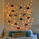 Brown Leaf Photo Clip LED String Lights (13 Meter 40 Bulbs) Warm White Led Light with( 20) Wooden Clips & 2 Rope Diwali Wedding Bottle Decoration Special Home Decoration Gift Item