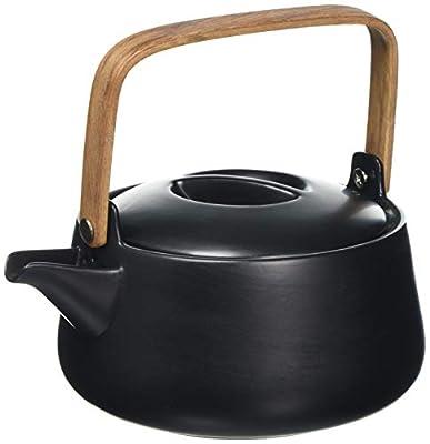 Une 'domo Pv-tab-9001Point-Virgule Théière Poignée Tapis de 1L, Bambou, Porcelaine, Noir