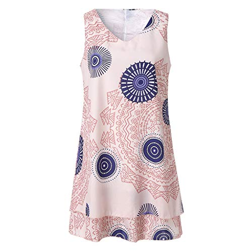 QingJiu Damen Plus Size Print Midi Kleid Lose Shift Sleeveless Tank Weste Sun Dress (XX-Large, Rosa) (Plus Size Wrap Langen Rock)