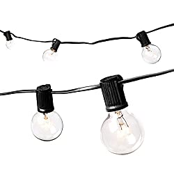 Afaith 25ft G40 Globe String Lights With Clear Bulbs, Ul Listed Backyard Patio Lights, Hanging Indooroutdoor String Light For Bistro Pergola Deckyard Tents Market Cafe Gazebo Porch Letters Party Decor, Black, Uk Standard- Sa082