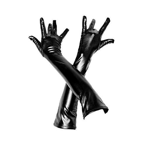 Adesugata donna sexy guanti guanti lunghi pelle sinteticasexy effetto bagnato per adulti sexy gioco di ruolo guanti lunghi lucidi nero Black