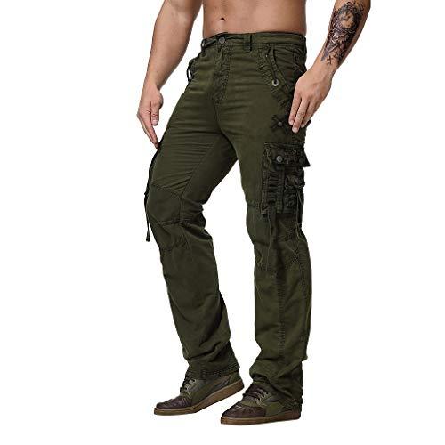 Xmiral Pantaloni Cargo Uomo con Tasche Laterali Tasconi Zip Slim Fit Regular Fit Pantaloni Casual Pantaloni da Lavoro (M,Army Green)