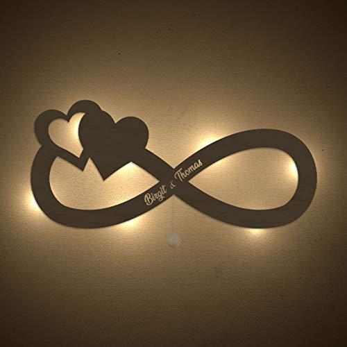 homeful Personalisiertes Nachtlicht Unendlichkeit Schlummerlicht Valentinstag Hochzeitstag Lampe Motiv Persönlich Handarbeit Unendlich Zeichen Geschenk mit Name