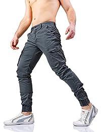 Instinct Pantaloni Uomo Cargo con Tasche Laterali Tasconi Jeans Slim Fit  Elastico alle Caviglie Militari Zip d2d2fabd2d6