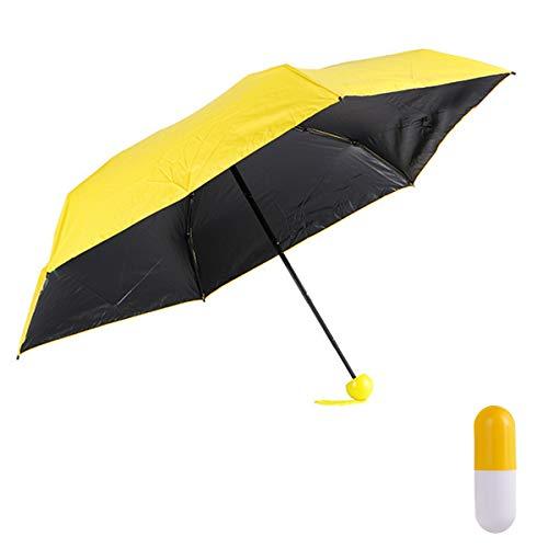 Regenschirm Taschenschirm Schirm-Tasche & Reise-Etui - Auf-Zu-Automatik, klein, leicht & kompakt, Teflon-Beschichtung, windsicher, stabil (Gelb)