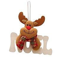 Clemunn Christmas Tree Ornaments Christmas Tree Pendant Hanging Wooden Letter Tag Home Decoration (14x11cm, Elk (NOEL))