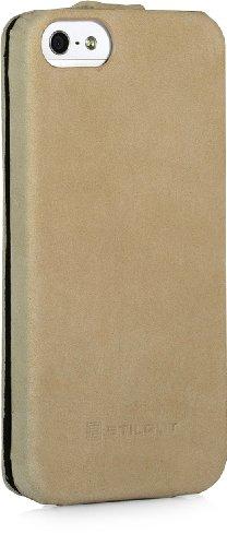 StilGut UltraSlim Case, Tasche aus Leder für Apple iPhone 5, 5s & iPhone SE, Schwarz - Nappa Apricot Vintage