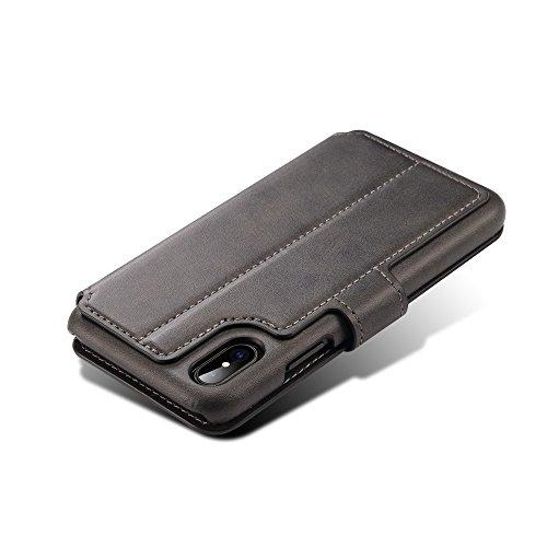 Uniqstore étui pour téléphone portable porte-monnaie avec carte d'identité Carte de crédit Porte-slot Porte-revêtement pour iPhone X-kaki noir
