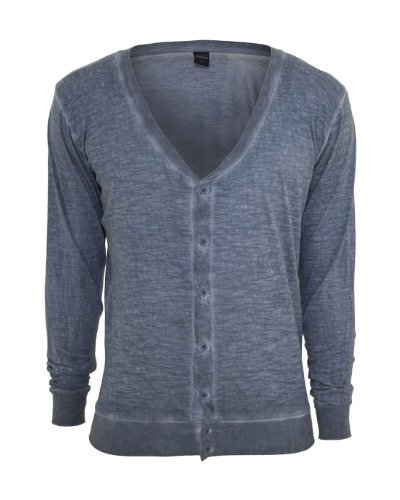 Urban Classics TB534 Spray Dye Slub Cardigan Uomo Regular Fit (Denim Blue, M)