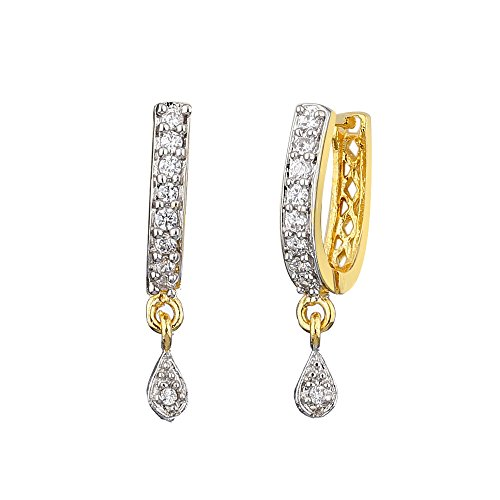 Zeneme American Diamond Gold Plated Bali Earrings Jewellery for Women and Girls  available at amazon for Rs.99
