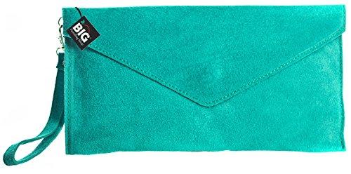 Große Handtasche Geschäft - Damen Umschlaghandtasche aus echtem italienischem Leder mit Staubbeutel Blu (Turchese)